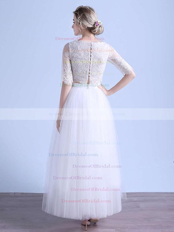 Two Piece A-line Scoop Neck Tulle Appliques Lace Ankle-length 1/2 Sleeve Unique Wedding Dresses #DOB00022679
