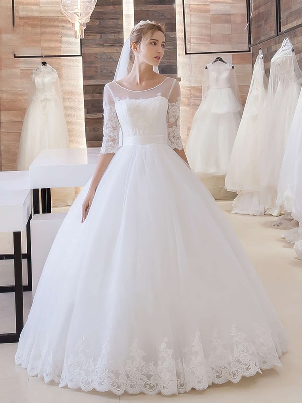 Boutique Ball Gown Scoop Neck Tulle Appliques Lace Floor-length 1/2 Sleeve Wedding Dresses #DOB00022680