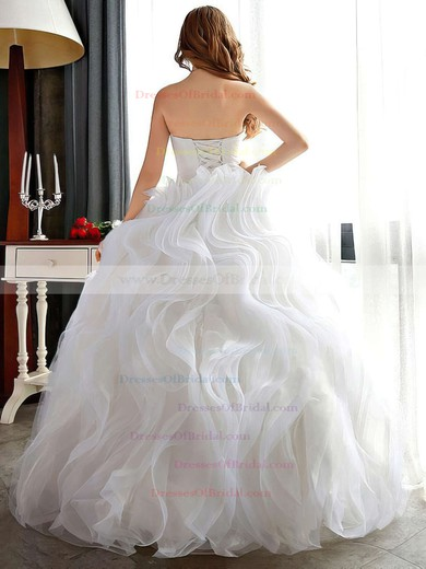 Ball Gown Sweetheart Organza Cascading Ruffles Floor-length Expensive Wedding Dresses #DOB00022681