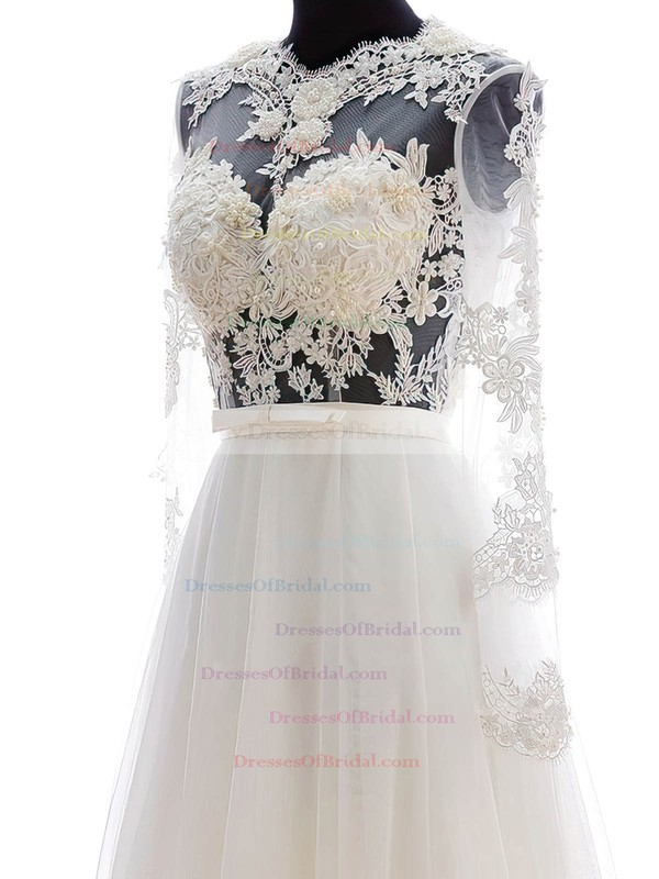 Online A-line Scalloped Neck Chiffon Tulle Appliques Lace Floor-length Long Sleeve Wedding Dresses #DOB00022682