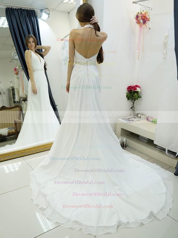 Affordable Halter A-line Chiffon Beading Court Train Backless Wedding Dresses #DOB00022684