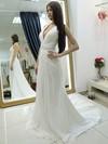 Affordable Halter A-line Chiffon Beading Court Train Backless Wedding Dresses #DOB00022684