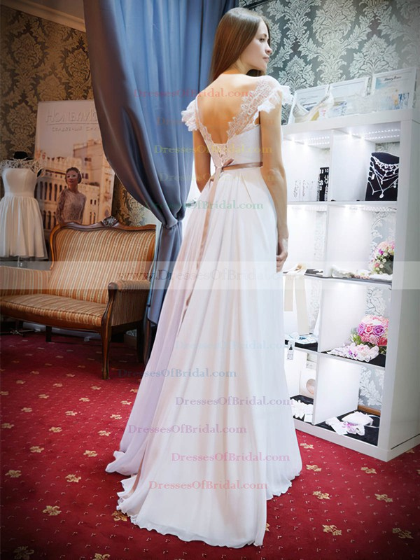 A-line Scalloped Neck Lace Chiffon Sashes / Ribbons Floor-length Fashion Backless Wedding Dresses #DOB00022685