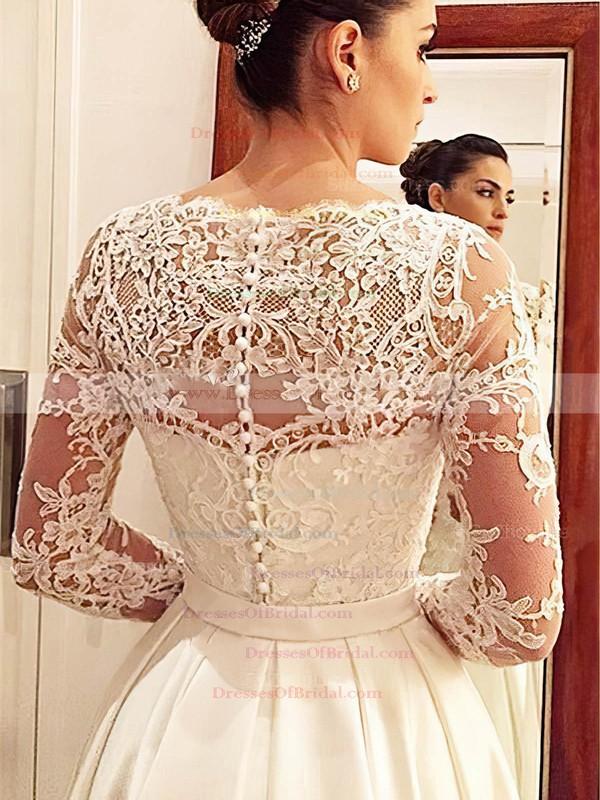 Classic A-line V-neck Satin Tulle Appliques Lace Court Train Long Sleeve Wedding Dresses #DOB00022686