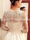 Classic A-line V-neck Satin Tulle Appliques Lace Court Train Long Sleeve Wedding Dresses #DOB00022686