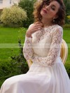 A-line Scoop Neck Lace Chiffon Sashes / Ribbons Sweep Train Long Sleeve New Style Wedding Dresses #DOB00022687