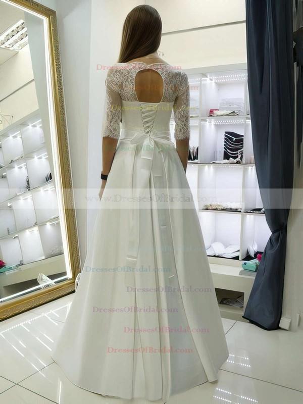 Elegant A-line Scalloped Neck Satin Lace Sashes / Ribbons Floor-length 1/2 Sleeve Wedding Dresses #DOB00022688