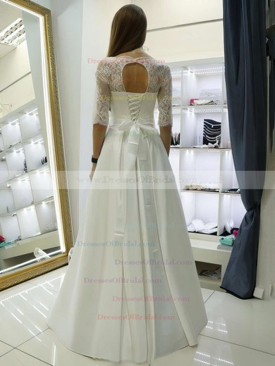 Elegant A-line Scalloped Neck Satin Lace Sashes / Ribbons Floor-length 1/2 Sleeve Wedding Dresses #DOB00022688