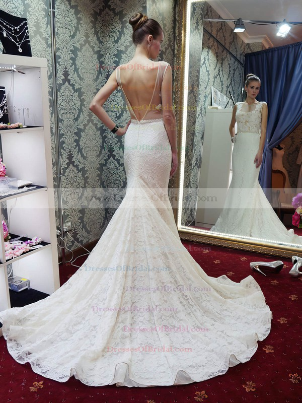 Scoop Neck Lace Tulle Beading Court Train Backless Trumpet/Mermaid New Arrival Wedding Dresses #DOB00022689
