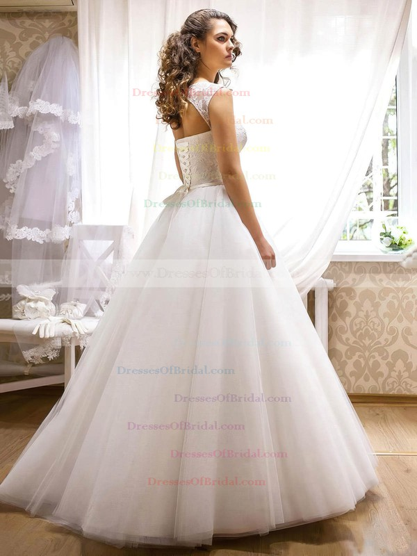 Beautiful Scoop Neck Tulle with Appliques Lace Floor-length Princess Wedding Dresses #DOB00022690