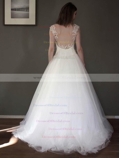 A-line Sweetheart Tulle with Appliques Lace Floor-length Classy Wedding Dresses #DOB00022691