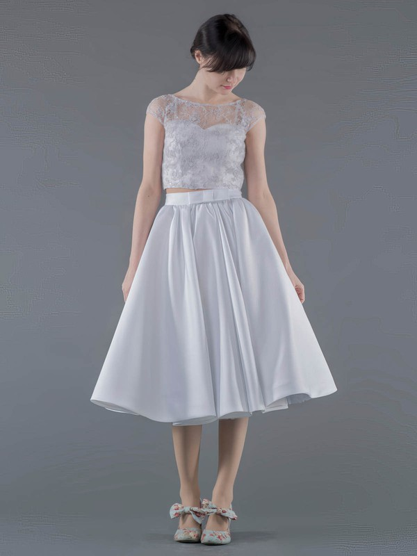Two Piece A-line Scoop Neck Lace Satin Appliques Lace Informal Tea-length Wedding Dresses #DOB00022692