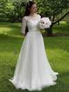Popular A-line Scoop Neck Tulle Lace Appliques Lace Sweep Train 1/2 Sleeve Wedding Dresses #DOB00022693