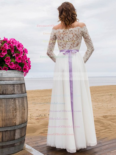 A-line Lace Chiffon Sashes / Ribbons Floor-length New Arrival Off-the-shoulder Wedding Dresses #DOB00022694