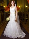 Modest Trumpet/Mermaid V-neck Tulle Appliques Lace Floor-length Backless Wedding Dresses #DOB00022695