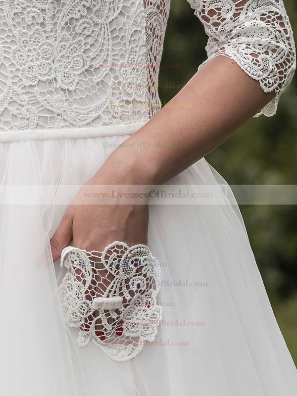 Backless A-line Square Neckline Tulle Lace Tea-length 1/2 Sleeve Trendy Wedding Dresses #DOB00022696
