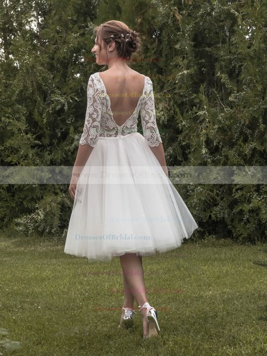 Backless A-line Square Neckline Tulle Lace Tea-length 1/2 Sleeve Trendy Wedding Dresses #DOB00022696