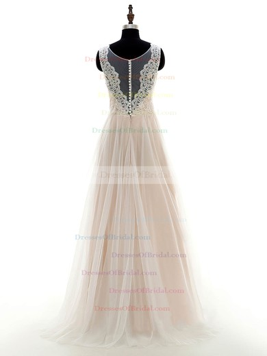 A-line Scoop Neck Tulle with Appliques Lace Floor-length Inexpensive Wedding Dresses #DOB00022697