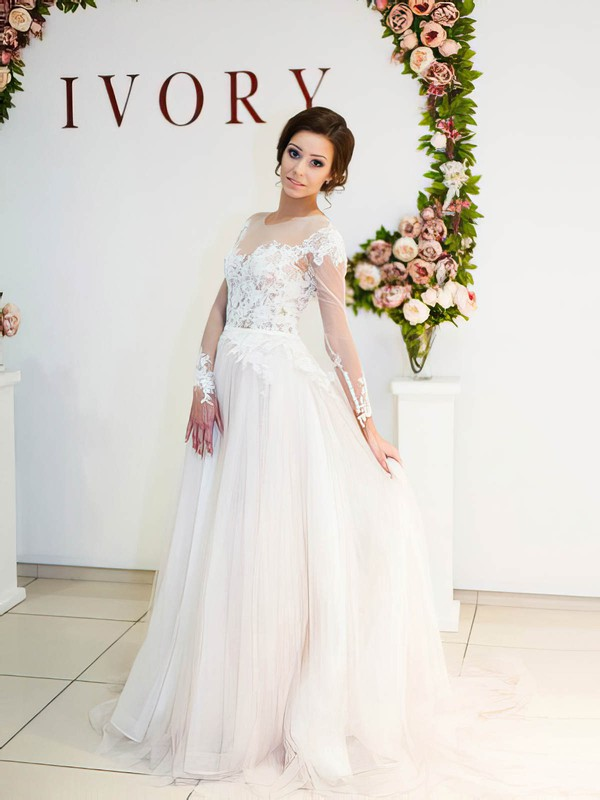 Glamorous A-line Scoop Neck Tulle Appliques Lace Sweep Train Long Sleeve Wedding Dresses #DOB00022698