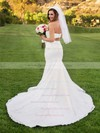 Newest Trumpet/Mermaid Sweetheart Satin Tulle Pearl Detailing Court Train Two Piece Wedding Dresses #DOB00022699