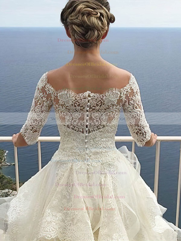 Famous A-line Tulle Lace Cascading Ruffles Court Train Off-the-shoulder 1/2 Sleeve Wedding Dresses #DOB00022700