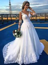 Different A-line Scoop Neck Tulle Appliques Lace Court Train Long Sleeve Wedding Dresses #DOB00022701