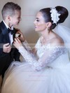 Off-the-shoulder Tulle Appliques Lace Floor-length Noble Ball Gown Long Sleeve Wedding Dresses #DOB00022702