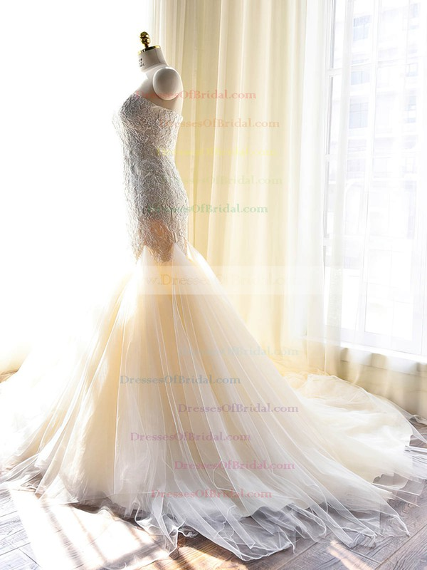 Original Sweetheart Tulle with Appliques Lace Court Train Trumpet/Mermaid Wedding Dresses #DOB00022703