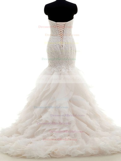Trumpet/Mermaid Sweetheart Tulle with Lace Sweep Train Fabulous Wedding Dresses #DOB00022704