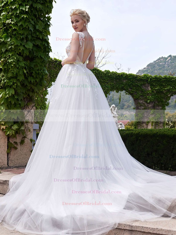 Exclusive A-line Scoop Neck Tulle Appliques Lace Court Train Backless Wedding Dresses #DOB00022705
