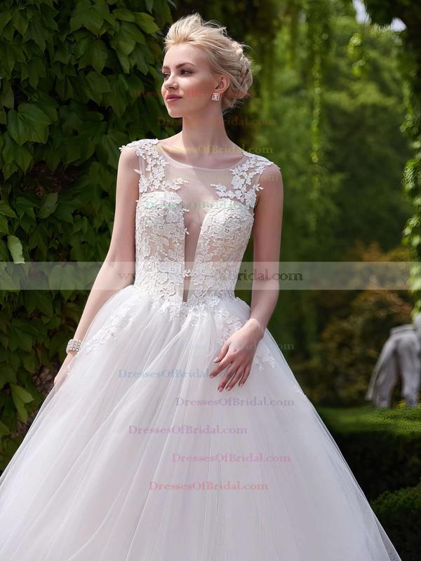 Exclusive A-line Scoop Neck Tulle Appliques Lace Court Train Backless Wedding Dresses #DOB00022705