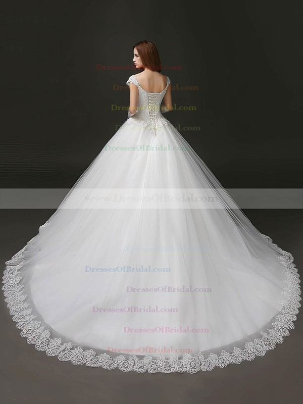 Classic Sweetheart Tulle with Appliques Lace Chapel Train Princess Wedding Dresses #DOB00022706
