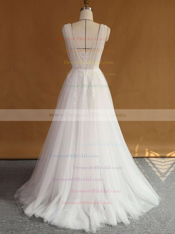 V-neck A-line Tulle with Appliques Lace Sweep Train Original Backless Wedding Dresses #DOB00022707