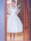Tea-length A-line Scoop Neck Tulle Appliques Lace Pretty 1/2 Sleeve Wedding Dresses #DOB00022708
