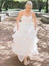 A-line Sweetheart Organza with Appliques Lace Sweep Train Beautiful Wedding Dresses #DOB00022709