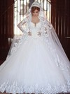 Glamorous Ball Gown V-neck Tulle Appliques Lace Chapel Train Long Sleeve Wedding Dresses #DOB00022710