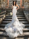 Sweetheart Lace Tulle Appliques Lace Court Train Amazing Trumpet/Mermaid Wedding Dresses #DOB00022712
