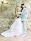 Two Piece A-line Scoop Neck Lace Organza Ruffles Sweep Train Perfect Long Sleeve Wedding Dresses #DOB00022713