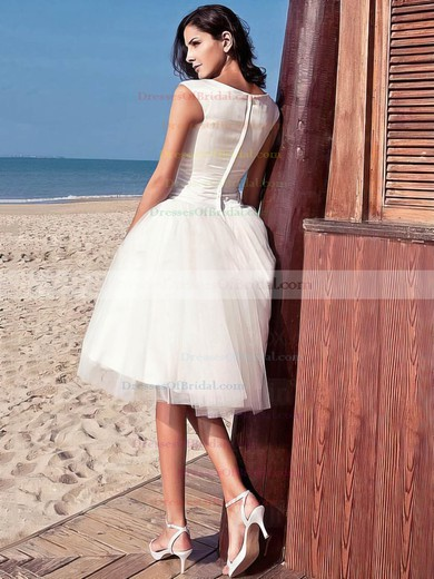 Simple Princess Scoop Neck Satin Tulle with Ruffles Knee-length Wedding Dresses #DOB00022714