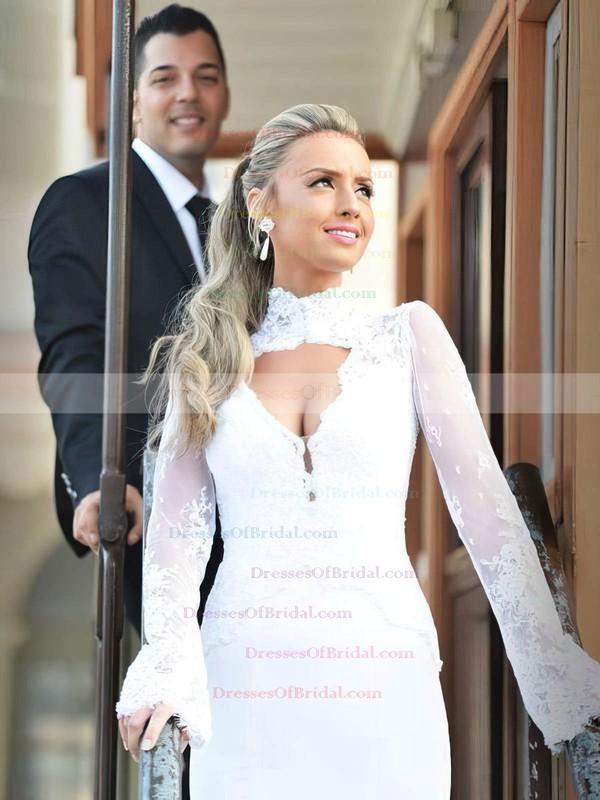 High Neck Trumpet/Mermaid Chiffon Tulle Appliques Lace Floor-length Open Back Famous Long Sleeve Wedding Dresses #DOB00022715
