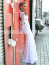 High Neck Trumpet/Mermaid Chiffon Tulle Appliques Lace Floor-length Open Back Famous Long Sleeve Wedding Dresses #DOB00022715