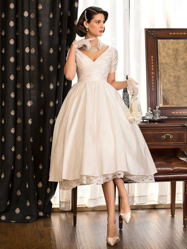 Classy Tea-length A-line V-neck Taffeta with Lace Short Sleeve Wedding Dresses #DOB00022716