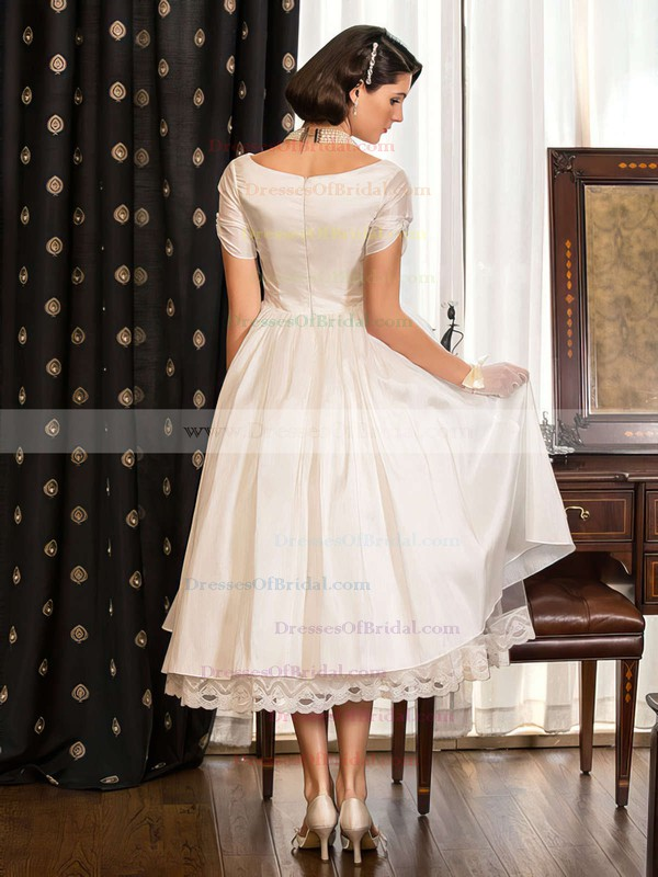 Classy Tea-length A-line V-neck Taffeta with Lace Short Sleeve Wedding Dresses #DOB00022716