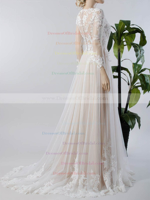 A-line V-neck Tulle Appliques Lace Sweep Train Long Sleeve Custom Wedding Dresses #DOB00022717