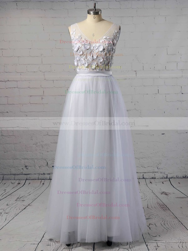 Backless A-line V-neck Tulle with Appliques Lace Floor-length Cheap Wedding Dresses #DOB00022718