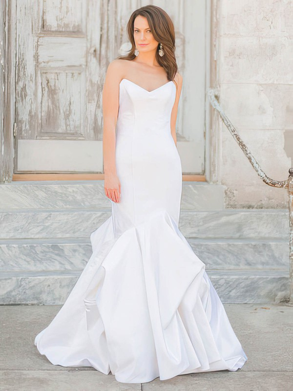 Trumpet/Mermaid V-neck Taffeta Pick-Ups Floor-length Affordable Wedding Dresses #DOB00022719