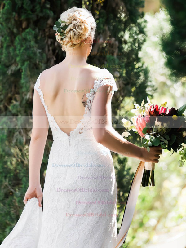 Scoop Neck Sheath/Column Lace Tulle Split Front Sweep Train Backless Sexy Wedding Dresses #DOB00022720