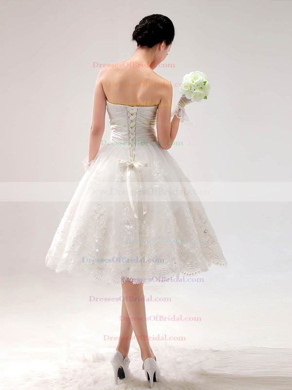 Sweetheart Princess Knee-length Lace Satin Draped Wedding Dresses #DOB00017014
