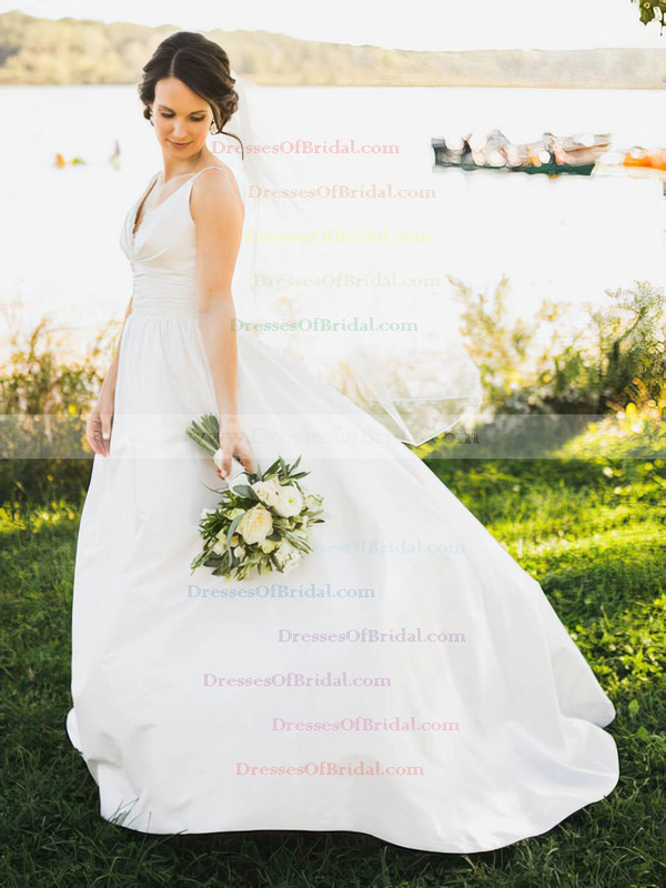 A-line Taffeta with Lace Sweep Train Inexpensive V-neck Wedding Dresses #DOB00022721