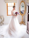 Elegant A-line Sweetheart Tulle with Appliques Lace Court Train Wedding Dresses #DOB00022722